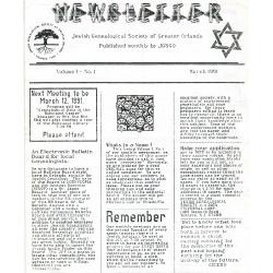 Jewish Genealogical Society of Greater Orlando Etz Chaim Vol 1 number 1