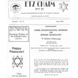 Jewish Genealogical Society of Greater Orlando Etz Chaim Vol 1 number 2 1991
