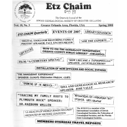 Jewish Genealogical Society of Greater Orlando Etz Chaim Vol 18 number 3