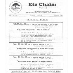Jewish Genealogical Society of Greater Orlando Etz Chaim Vol 2 number 1