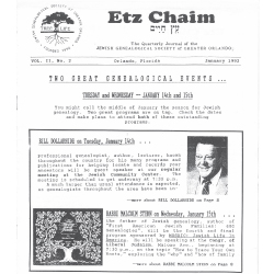 Jewish Genealogical Society of Greater Orlando Etz Chaim Vol 2 number 2 1992