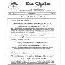 Jewish Genealogical Society of Greater Orlando Etz Chaim Vol 2 number 3