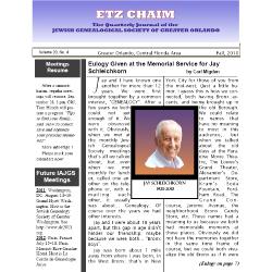 Jewish Genealogical Society of Greater Orlando Etz Chaim Vol 20 number 4