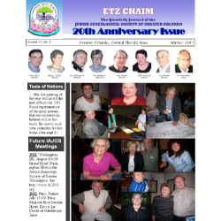 Jewish Genealogical Society of Greater Orlando Etz Chaim Vol 21 number 1