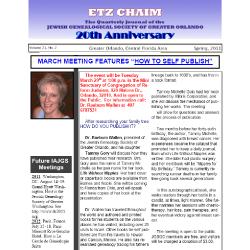 Jewish Genealogical Society of Greater Orlando Etz Chaim Vol 21 number 2