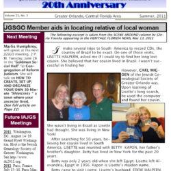 Jewish Genealogical Society of Greater Orlando Etz Chaim Vol 21 number 3