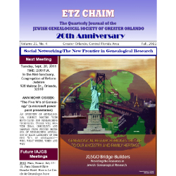 Jewish Genealogical Society of Greater Orlando Etz Chaim Vol 21 number 4