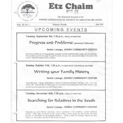 Jewish Genealogical Society of Greater Orlando Etz Chaim Vol 3 number 1