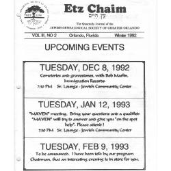 Jewish Genealogical Society of Greater Orlando Etz Chaim Vol 3 number 2