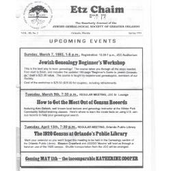 Jewish Genealogical Society of Greater Orlando Etz Chaim Vol 3 number 3