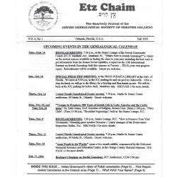 Jewish Genealogical Society of Greater Orlando Etz Chaim Vol 4 number 1