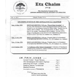 Jewish Genealogical Society of Greater Orlando Etz Chaim Vol 4 number 4