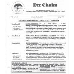 Jewish Genealogical Society of Greater Orlando Etz Chaim Vol 4 number 3