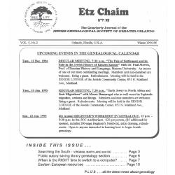 Jewish Genealogical Society of Greater Orlando Etz Chaim Vol 5 number 2