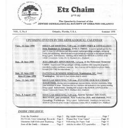 Jewish Genealogical Society of Greater Orlando Etz Chaim Vol 5 number 4
