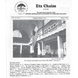 Jewish Genealogical Society of Greater Orlando Etz Chaim Vol 8 number 3
