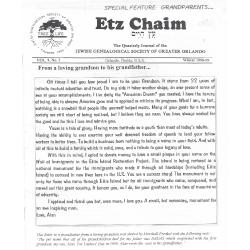 Jewish Genealogical Society of Greater Orlando Etz Chaim Vol 9 number 2